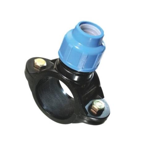 Abrazadera doble bulón con racord PVC