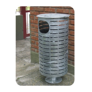 Cesto de basura de acero galvanizado cilíndrico con tapa 01