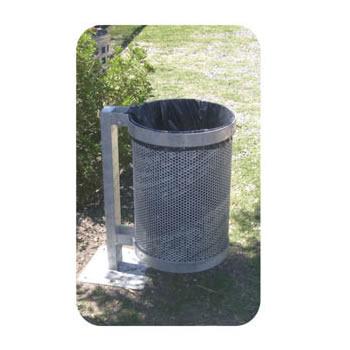 Cesto de basura de acero galvanizado con soporte 01