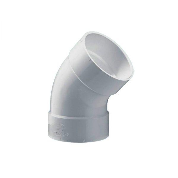 Codo / Curva cloacal a 45º HH junta pegar PVC inyectado